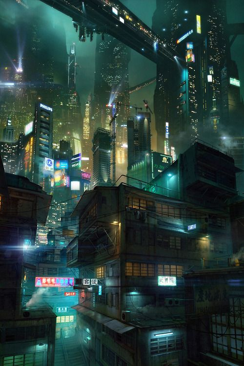 This Asian city of the dark future seems like concept art based around Blade Runner, but I can't figure out who made it. It beautifully depicts a dark city of the future, with structures interlaced with large connectors, ascending into the sky and towering over those that exist beneath them.