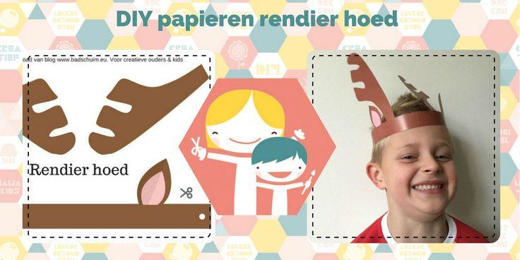 Maak je kids happy met deze gratis printabel van een DIY rendier hoed. Heel eenvoudig te maken: printen, plakken, knippen: KLAAR! Genieten maar.