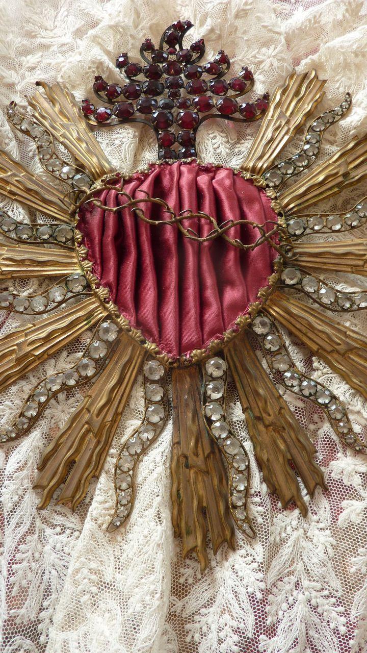 French sacred heart religious embellishment paste stones applique.
