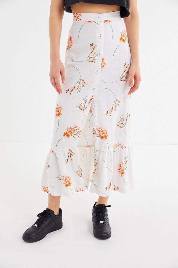 11cddf81a UO Selma Linen Ruffle Button-Front Maxi Skirt in 2019 | Work Wardobe ...