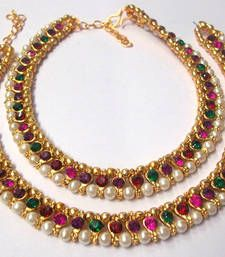 Buy Rainbow color stone pearl Golden Anklet Online