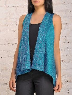 Blue Reversible Upcycled Silk-Saree Vest