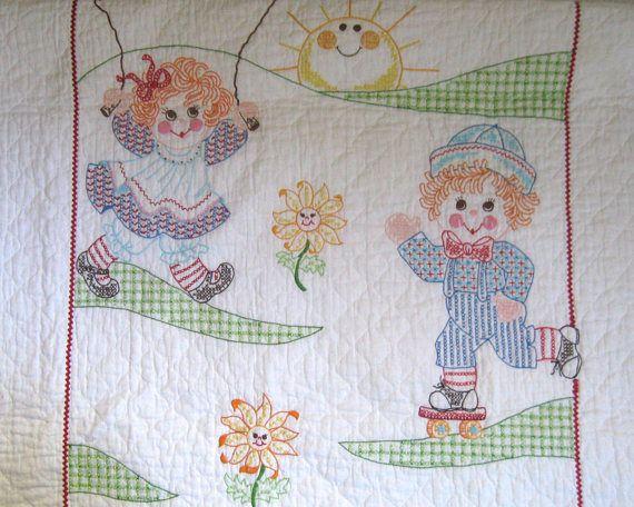 embroidered crib quilt . embroidered quilt . lightweight quilt