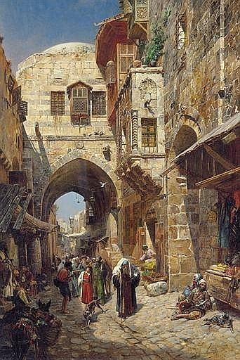 "Zechariah 2:12 - ""And the LORD shall inherit Judah his portion in the holy land, and shall choose Jerusalem again.""   King James Bible ""Authorized Version"", Cambridge Edition.  Painting, David Street Jerusalem, by Gustav Bauernfeind."
