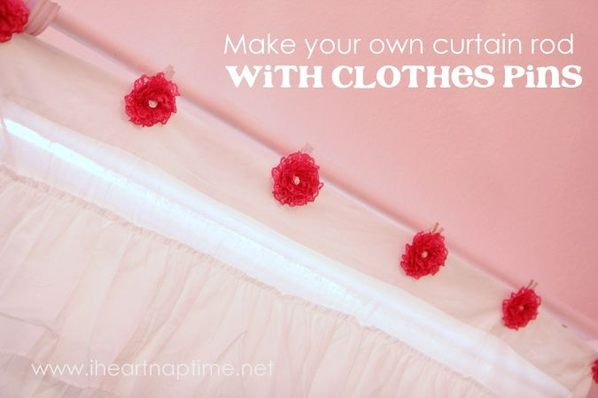 Make your own curtain rod with clothespins via @Jamielyn Nye