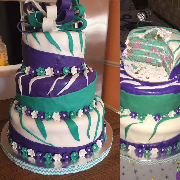 Purple & Teal Zebra Cake:  It was made for someone's High School Graduation Party. Can you guess what are her favorite colors?