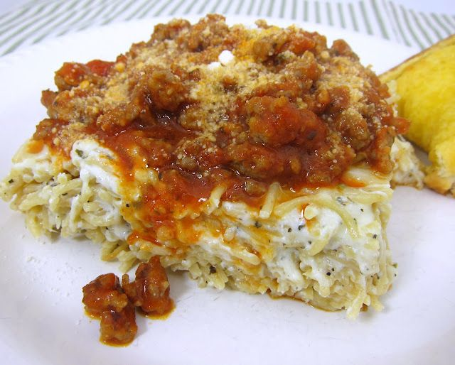 """Original pinner says """"So, I made this tonight. Baked Spasagna. Holy crap, it was good. I also only used 1 1/2 boxes of spaghetti instead of 2 for a 9x13 pan, and it is plenty. Seriously, make it tomorrow."""""""