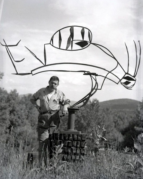 """""""Australia"""" - David  Smith with one of  his sculptures"""