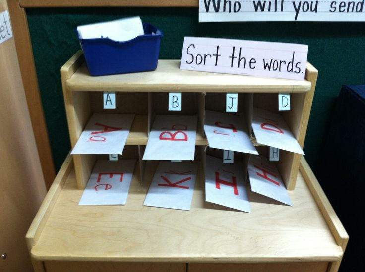 Preschool post office game. Sort the mail! Sort the words into the right envelopes based on letter. Then sort the envelopes into mail box!