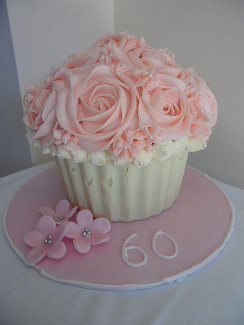 Giant cupcake cake love the flowers