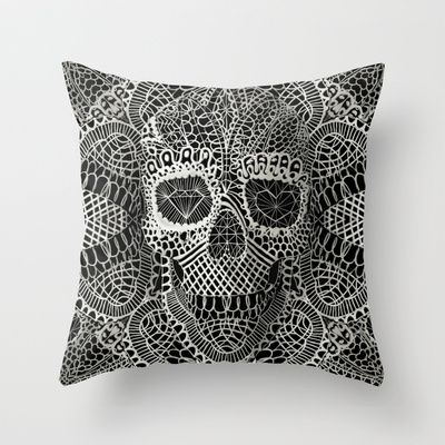 Lace 3D Skull Throw Pillow by Ali GULEC.