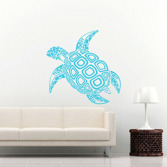 sea turtle wall decal ocean sea animals decals wall vinyl sticker interior home decor family art. Black Bedroom Furniture Sets. Home Design Ideas