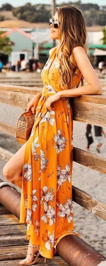 #Summer #Outfits / Orange Maxi Dress