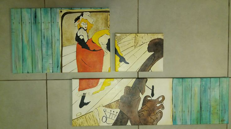 Tolousse Lautrec vintage triptico acrílico