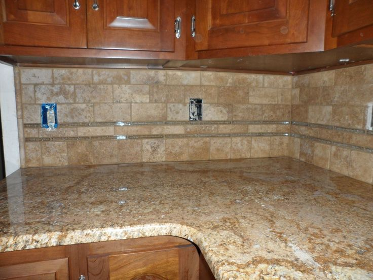 Glass Tile Back Splash Grouted Limestone And Glass
