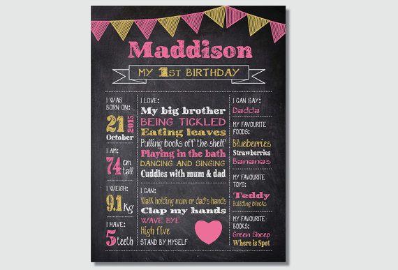 Birthday Milestone Poster Chalkboard print first 1st birthday party Pink Gold