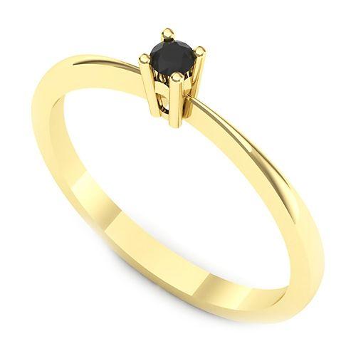 Inelul este realizat din aur galben 14k, greutate: ~1.00gr.                                   Produsul are in componenta sa: 1 x diamant_negru, dimensiune: ~2.30mm, forma: round