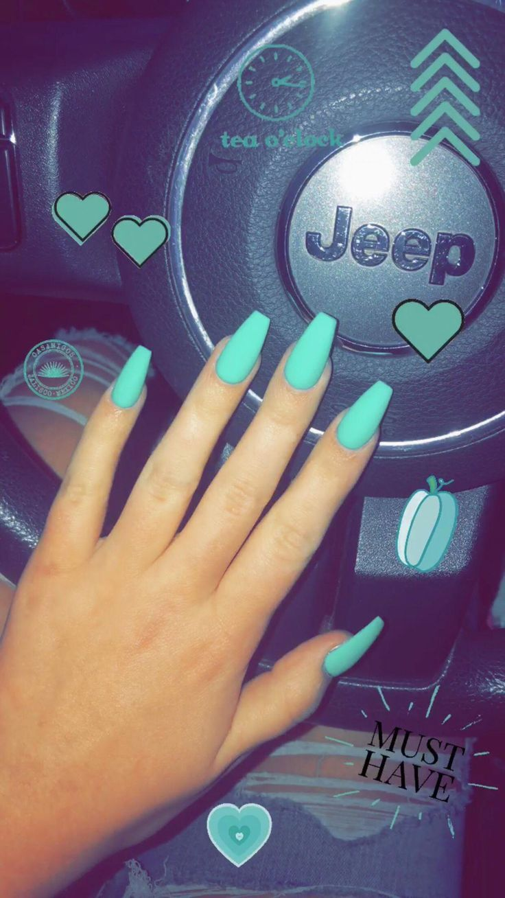Teal Coffin Nails Nails In 2020 Teal Acrylic Nails Teal Nails Turquoise Nails