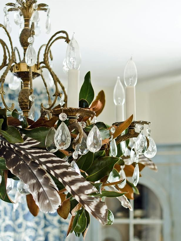 An homage to the turkey with feathers in the chandelier.