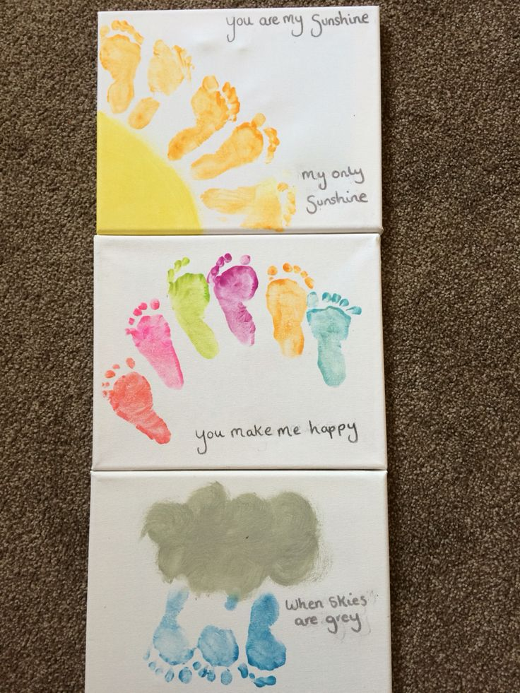 Footprint baby sunshine, rainbow, rain and cloud. You are my sunshine, on canvas