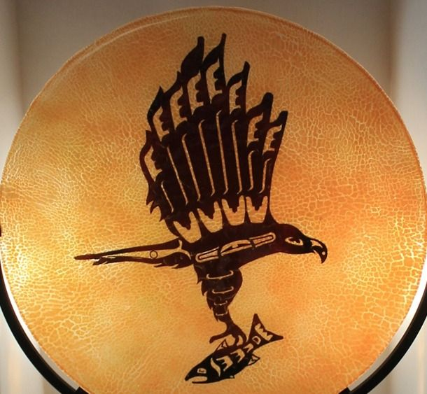 """Ceremonial Salmon Run Drum by Alisa Nielsen, Spirit Wolf Design Seried: 1 of 2 approximately 16"""" x 16"""" Kiln Formed Fused Glass $425USD"""
