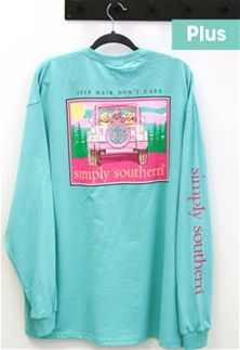 71531401 Simply Southern Preppy Collection Plus Size Jeep Hair Don't Care Long  Sleeve T-shirt for Women in Aruba EXT-LS-DONT-ARUBA | Simply Southern  Collection ...