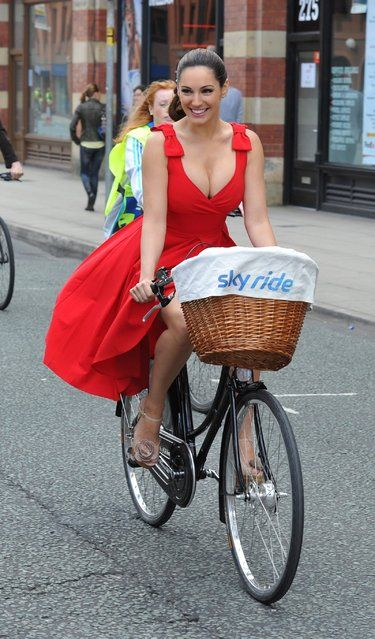 Thousands of participants joined actress and model Kelly Brook at Sky Ride Manchester on July 15, 2012 – a free, fun, family cycling event from British Cycling and Sky held in partnership with Manchester City Council, offering people of all ages and abilities the chance to cycle around a traffic free city. (Photo by Paul Thomas)