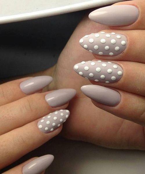 Beautiful White Dotted Stiletto Nail Art Design