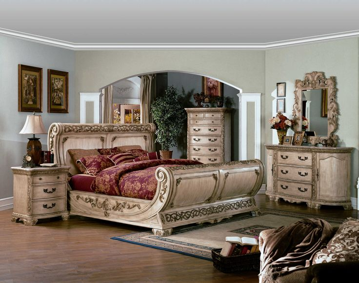 The Rue Lecerf | Large Antiqued And Ornate Sleigh Bedroom Set In A White  Bisque Finish