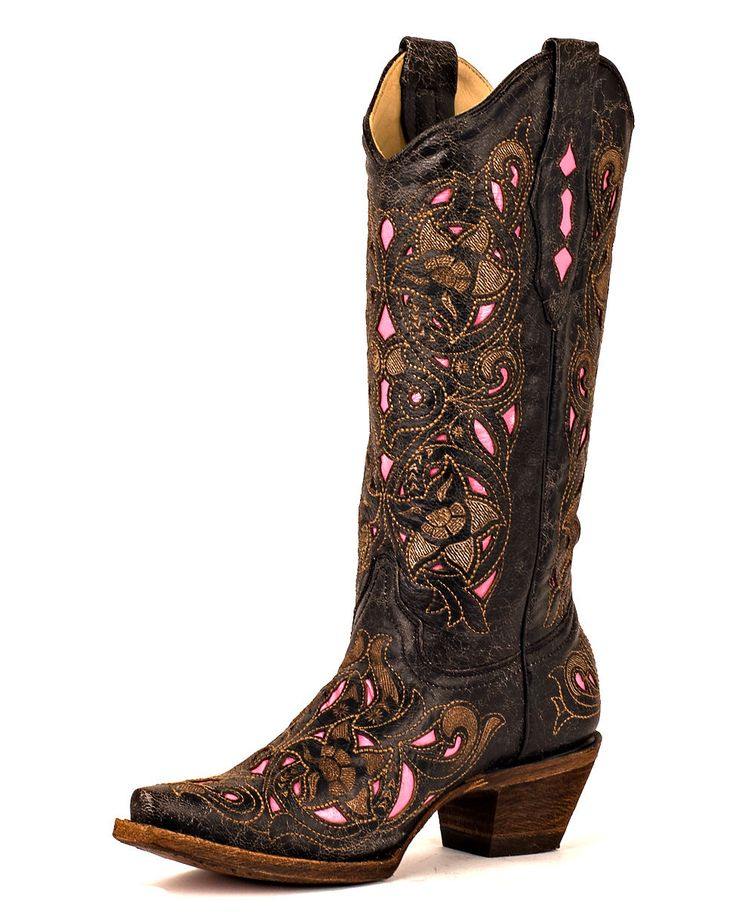 Corral Women's Distressed Black/Brown Floral Pink Inlay Boots     LOVE! I will never buy them though. Too $ and I admit, I rarely wear the cowboy boots that I do have. But these are gorgeous!