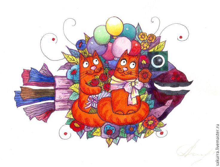 Купить Это любовь!!! - разноцветный, Живопись, акварель, забавный сюжет, коты, любовь, свидание, романтика