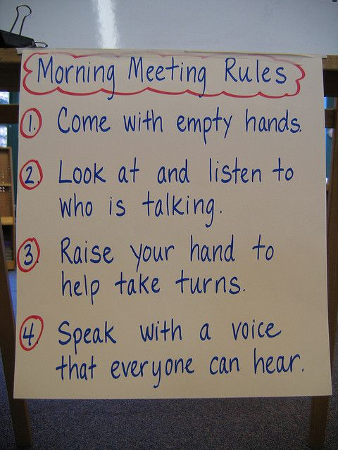 The use of classroom/community meetings to build rapport and relationships.  Taking the time for a daily morning meeting is a great way to start the day off right!