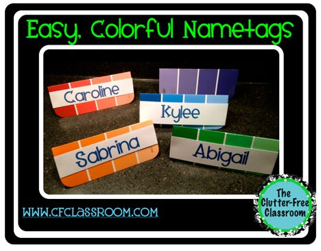 Cute, colorful nametags for first day of school (keep and put in with Sub Plans -- put out on desk before leaving)
