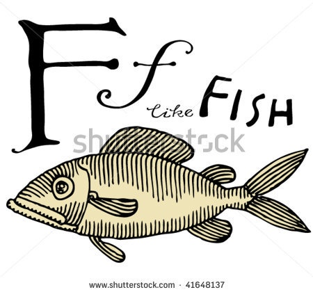 stock vector : letter for fish with typography