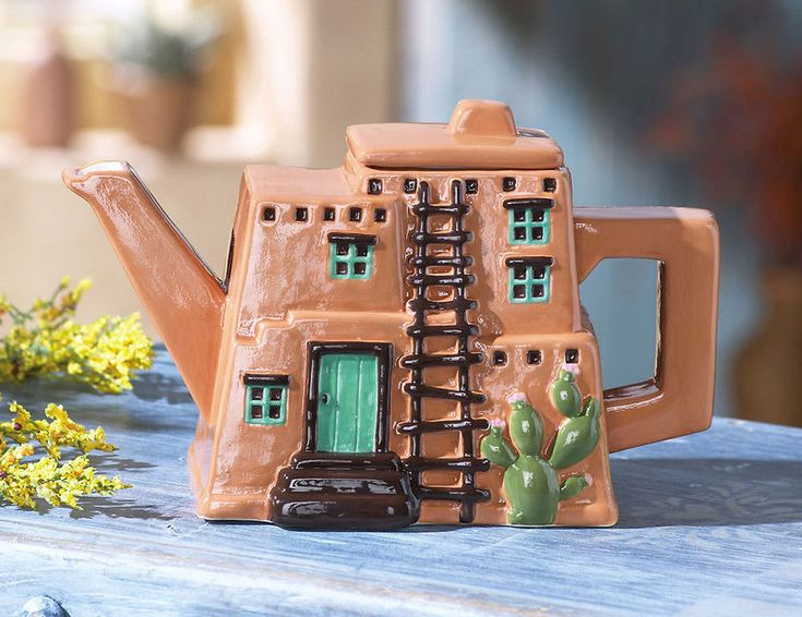 Decorative Adobe House Teapot