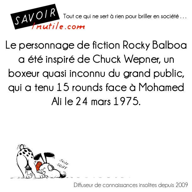 Le personnage de fiction Rocky Balboa a été inspiré de Chuck Wepner, un boxeur quasi inconnu du grand public, qui a tenu 15 rounds face à Mohamed Ali le 24 mars 1975.