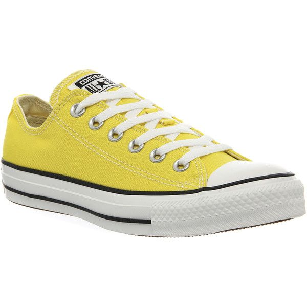 Converse All Star Low ($70) ❤ liked on Polyvore featuring shoes, sneakers, citrus yellow, trainers, unisex sports, sports shoes, sports trainer, canvas shoes, yellow sneakers and converse sneakers