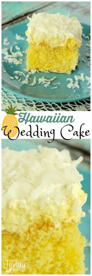 Hawaiian Wedding Cake starts with a simple cake mix. Add a splash of coconut and pineapple and it becomes a refreshing cake that tastes like a piña colada. via @favfamilyrecipz