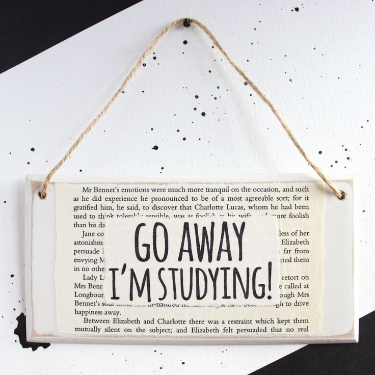Gifts for Students | Go Away I'm Studying | Handmade Wooden Door Sign | College Student Gift | Literary Gift | Roommate Gift | Booklover by LittleBookishLtd on Etsy