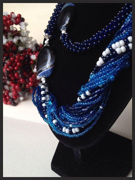бисерный жгут колье синий голубой русский стиль. Handmade.