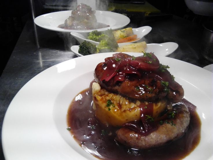 Harvey's sausages with mustard mash, red onion marmalade and gravy. @harveys_butchers @The Cellar House.