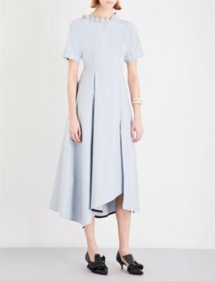 YULIA KONDRANINA Ball-detail cotton-poplin midi dress