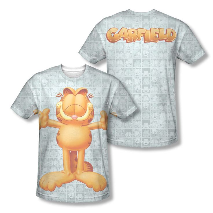 Garfield Free Hugs Classic Comic Strip Collage Sublimation All-Over T-shirt Top Mens Sizes: S, M, L, XL, 2XL
