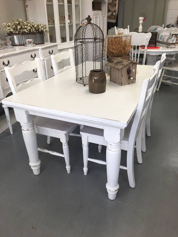 Beautiful White Distressed Farmhouse Table With 4 Chairs This Beautiful Table Is The Perfect Add Distressed Chair White Distressed Furniture Distressed Kitchen