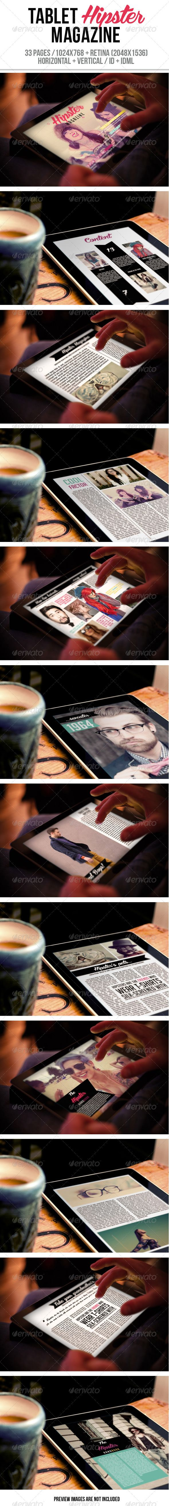 Tablet Hipster Magazine, ID Template #epublishing #emagazine #retina #hipster