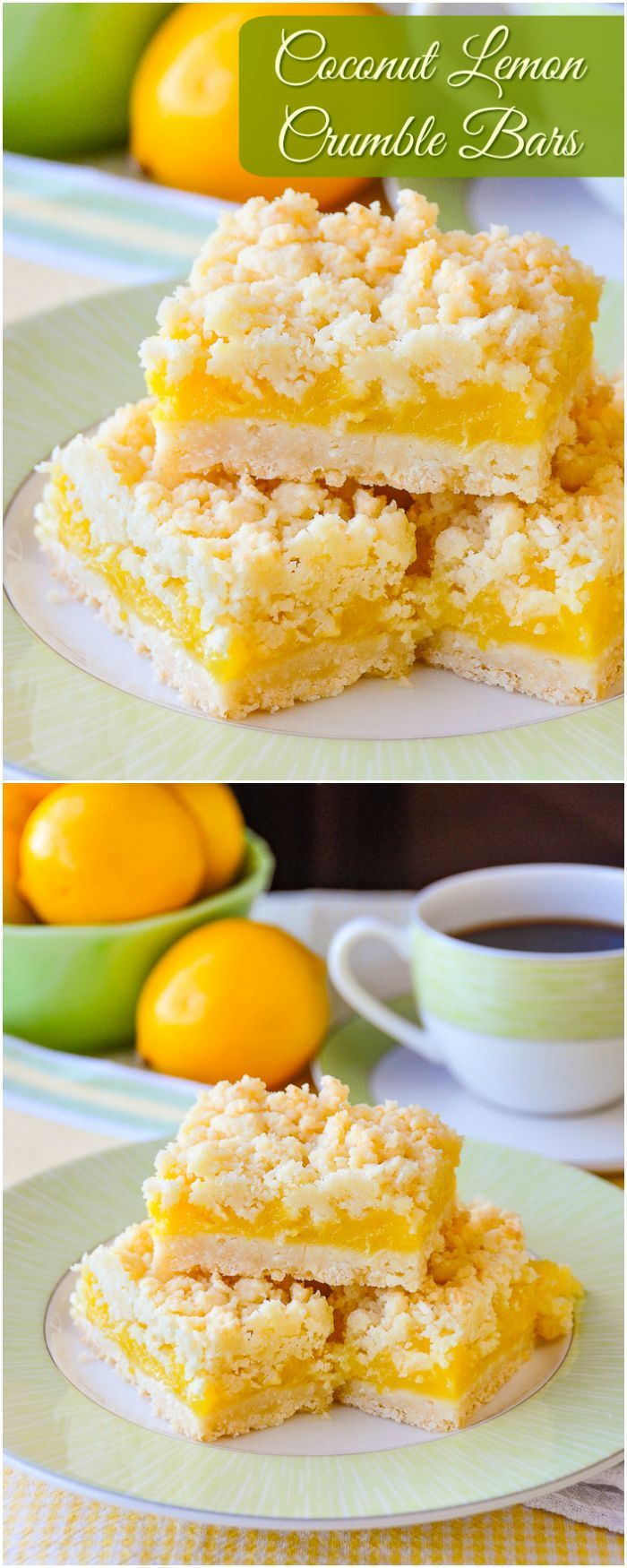 Coconut Lemon Crumble Bars. A 35+ year old family recipe that combines coconut and tangy lemon filling in a buttery crumble bar cookie. These cookie bars freeze quite well too. #cookiebars #Christmascookies #freezerfriendly