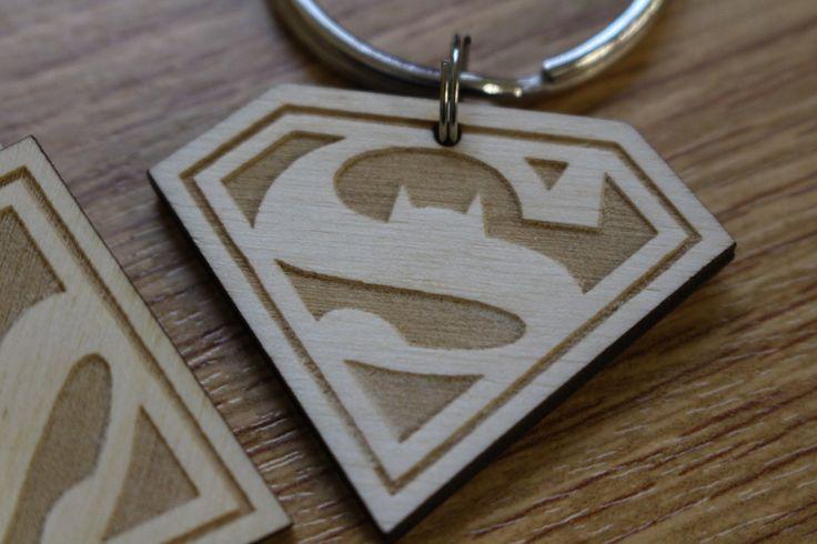 Personalised Custom  Logo SuperMan and BATMAN Keychain Keyrings Gift Wood laser engrave by FeelMyCraft on Etsy