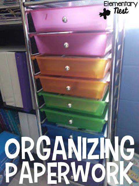 Organizing paperwork- using drawers and binders to organize your teaching paperwork- classroom organization tips