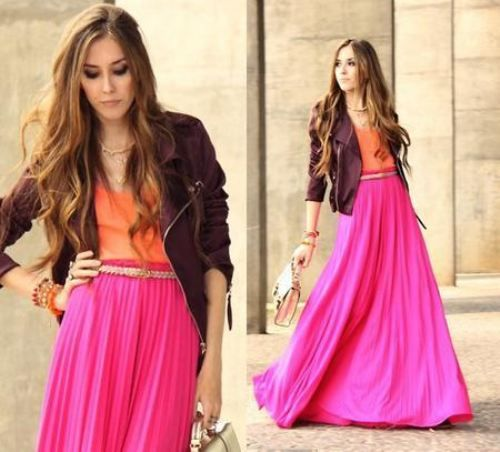 maxi skirt color blocking!: Pink Maxi, Colors Combos, Pink Skirts, Long Skirts, Colors Combinations, Hot Pink, Colors Blocks, Bright Colors, Maxi Skirts