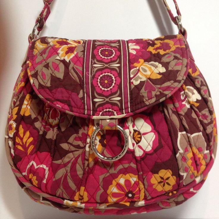 Vera Bradley Purse Carnaby Crossbody Shoulder Saddle Bag Magenta Floral Retired #VeraBradley #ShoulderBagCrossbody